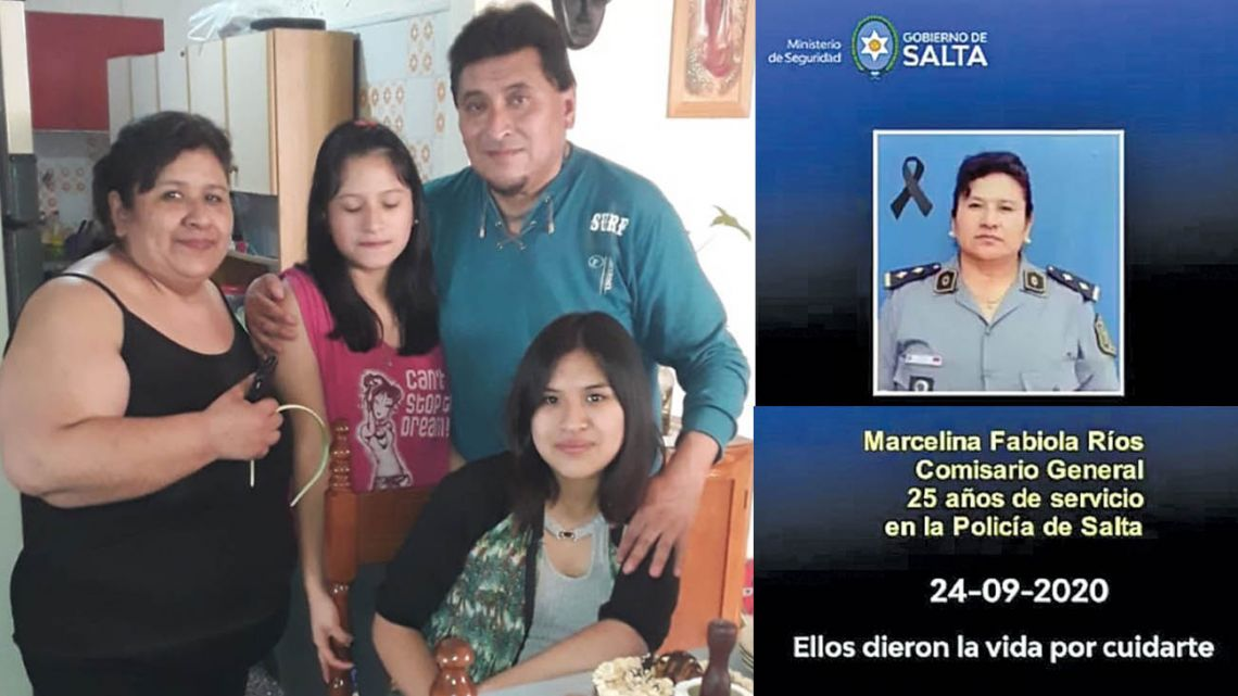Fabiola, pictured with her family. On the right, her police identification photo.