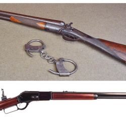 """Arriba: sheriff y comisarios utilizaban escopetas yuxtapuestas calibre 10. Abajo: Winchester 1876 calibre .45-60, con su alza regulable tipo """"Creedmoor"""", como el utilizado por Tom Horn."""