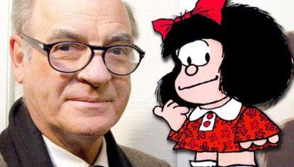 El genial Quino y su mítico personaje Mafalda.