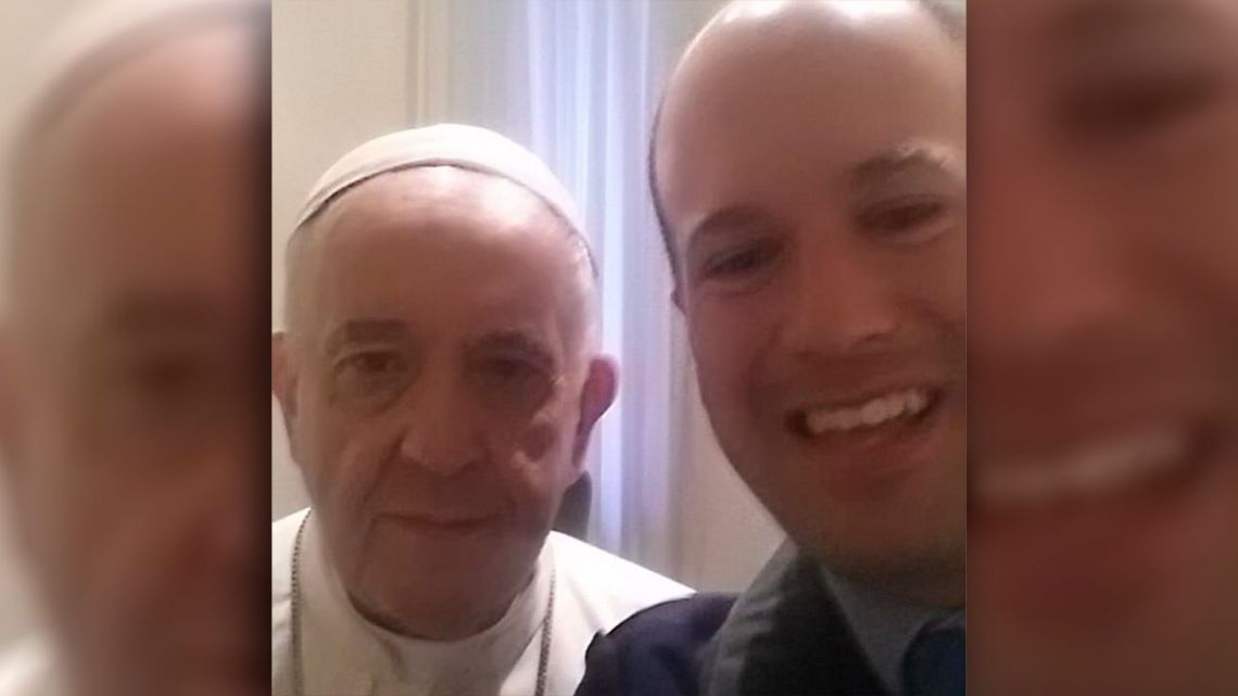 Sergio Decuyper, pictured with a photograph he took with Pope Francis.