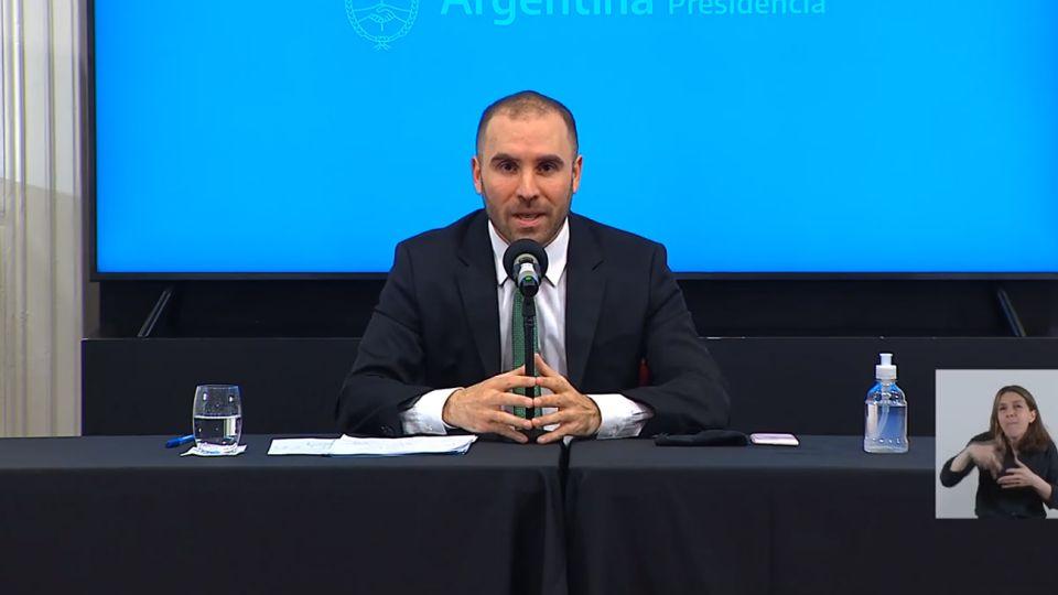 El ministro Martín Guzmán, en los nuevos anuncios económicos.