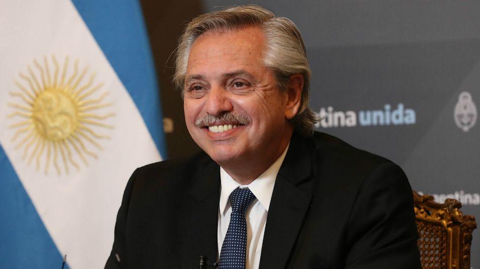 Alberto Fernández, en una videoconferencia por Zoom.