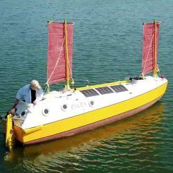 El pequeño velero de Sven ha sido bautizado como Exlex Minor, diseñado y construido íntegramente por su dueño.