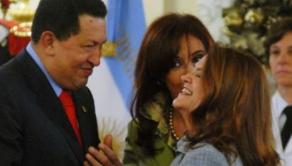 Hugo Chávez, Cristina Kirchner y Alicia Castro