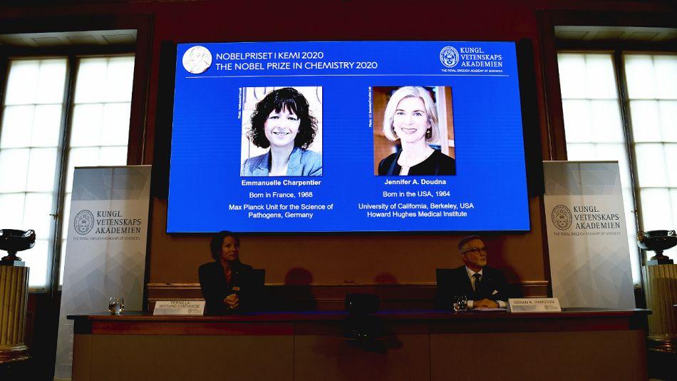 Nobel de Química 2020. Científica francesa Emmanuelle Charpentier y la estadounidense Jennifer Doudna.