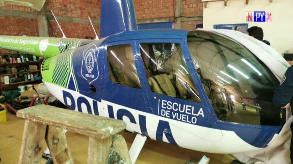 El helicóptero ploteado como de la Policía Bonaerense, hallado en Paraguay.