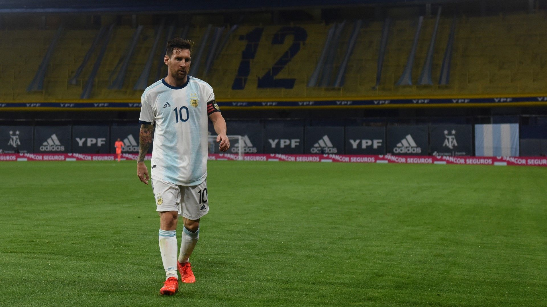 Lionel Messi is seen during Argentina's 2022 FIFA World Cup South American qualifier football match against Ecuador at La Bombonera stadium in Buenos Aires on October 8, 2020.