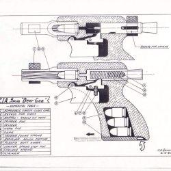 La pistola Deer Gun alojaba tres cartuchos 9 mm en un orificio y poseía cañón de ánima lisa.