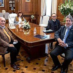 CFK con Domenech, Idígoras y Martins. | Foto:Cedoc.