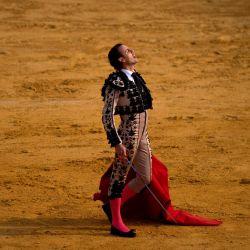 El matador español Finito de Córdoba reacciona durante una corrida de toros en la plaza de toros de Antequera en Antequera. | Foto:JORGE GUERRERO / AFP