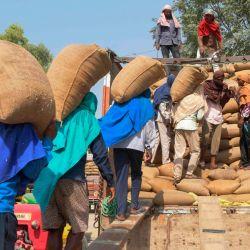 Obreros cargan sacos de arroz en un camión en un mercado mayorista de granos en Amritsar.   Foto:Narinder Nanu / AFP
