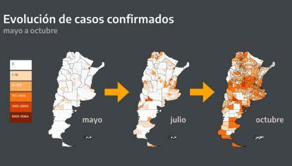 Mapa del avance del coronavirus en el interior del país.