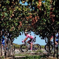 El ciclista portugués del equipo Deceuninck, Joao Almeida, con el maillot rosa de líder general, compite en la octava etapa de la carrera ciclista Giro d'Italia 2020, una ruta de 200 kilómetros entre Giovinazzo y Vieste. | Foto:Luca Bettini / AFP