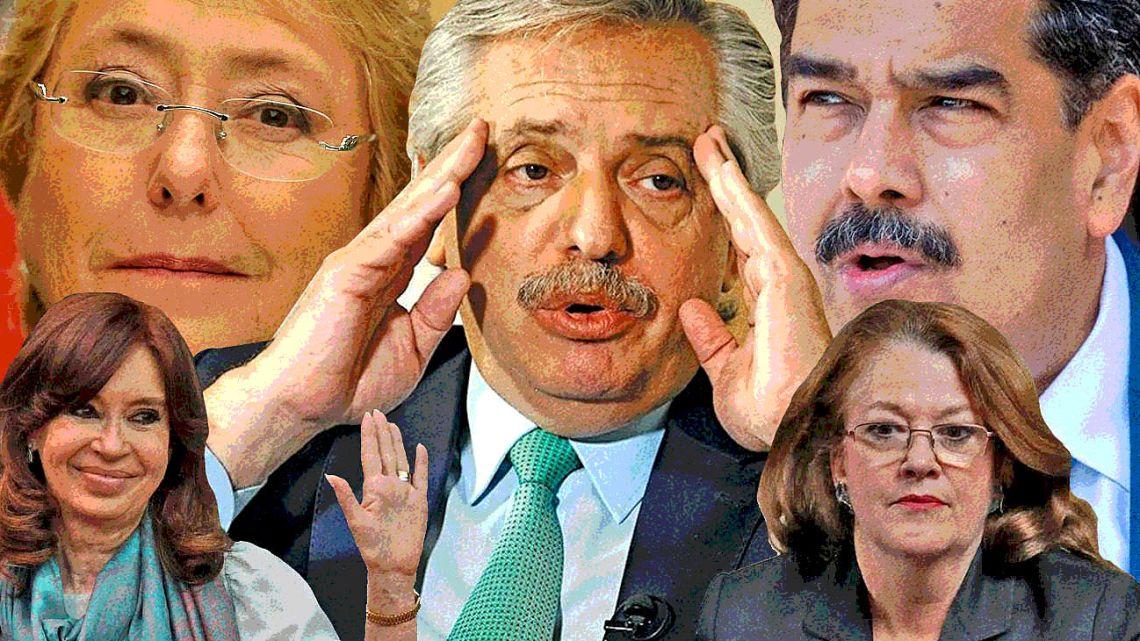 President Fernandez, Alicia Catro, Cristina, Maduro and Bachelet.