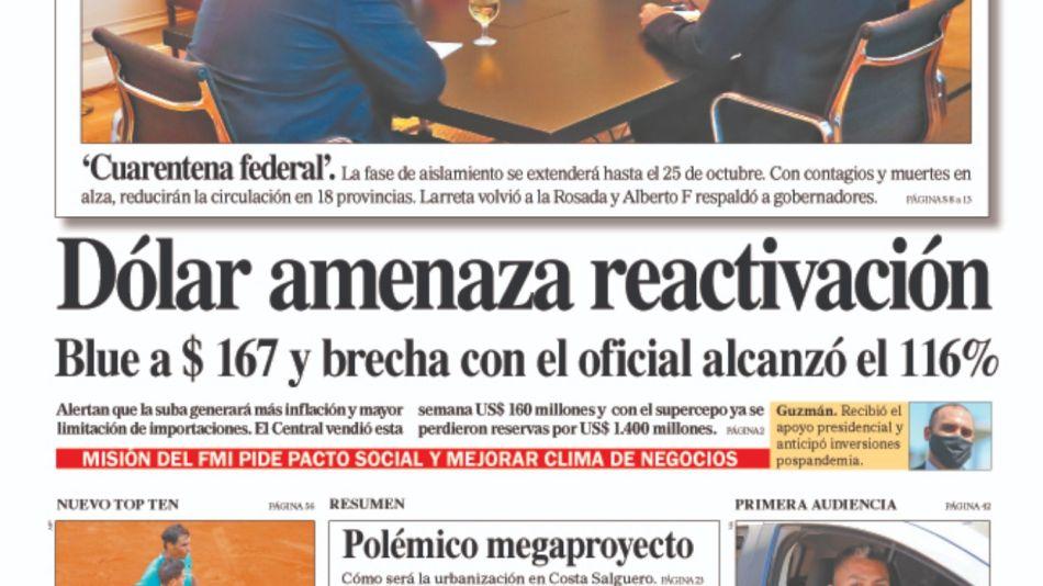 La tapa del sábado 10 de octubre del Diario Perfil.