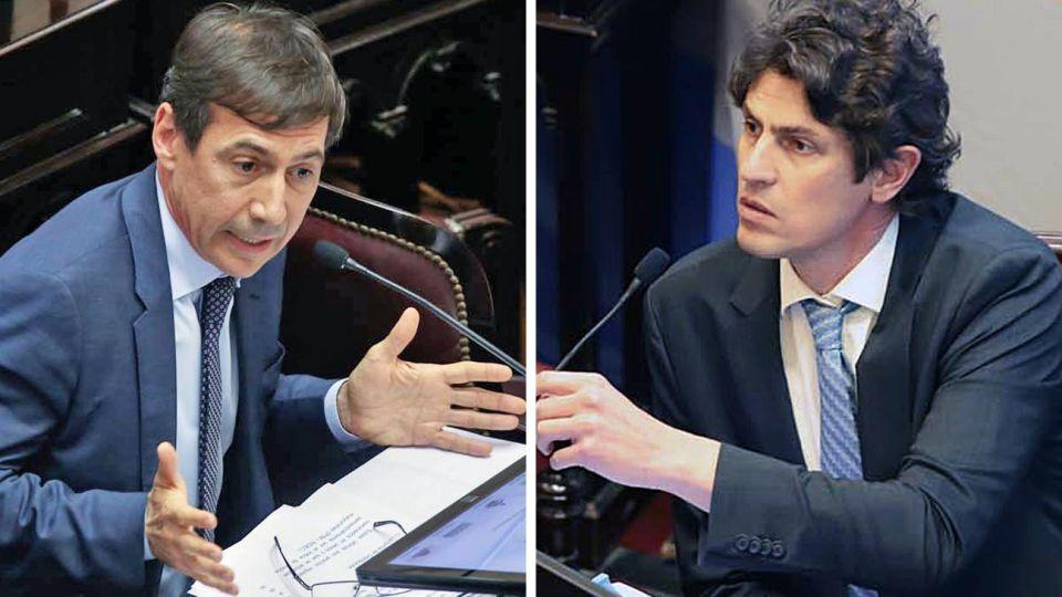 Radicales. Naidenoff es el jefe del interbloque de JxC; Lousteau, viceprimero del Senado.