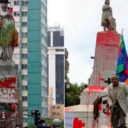 El grupo feminista boliviano intervino la estatua de Isabel I de Castilla