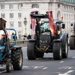 Inglaterra, Londres: Los agricultores conducen sus tractores a través de Westminster durante una protesta por las normas alimentarias y agrícolas, organizada por el grupo de campaña Save British Farming (SBF), el día en que la Ley de Agricultura enmendada regresa a la Cámara de los Comunes. | Foto:Aaron Chown / PA Wire / DPA