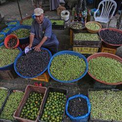 Un vendedor palestino vende aceitunas en un mercado durante la temporada de cosecha en Khan Yunis, en el sur de la Franja de Gaza. | Foto:SAID KHATIB / AFP