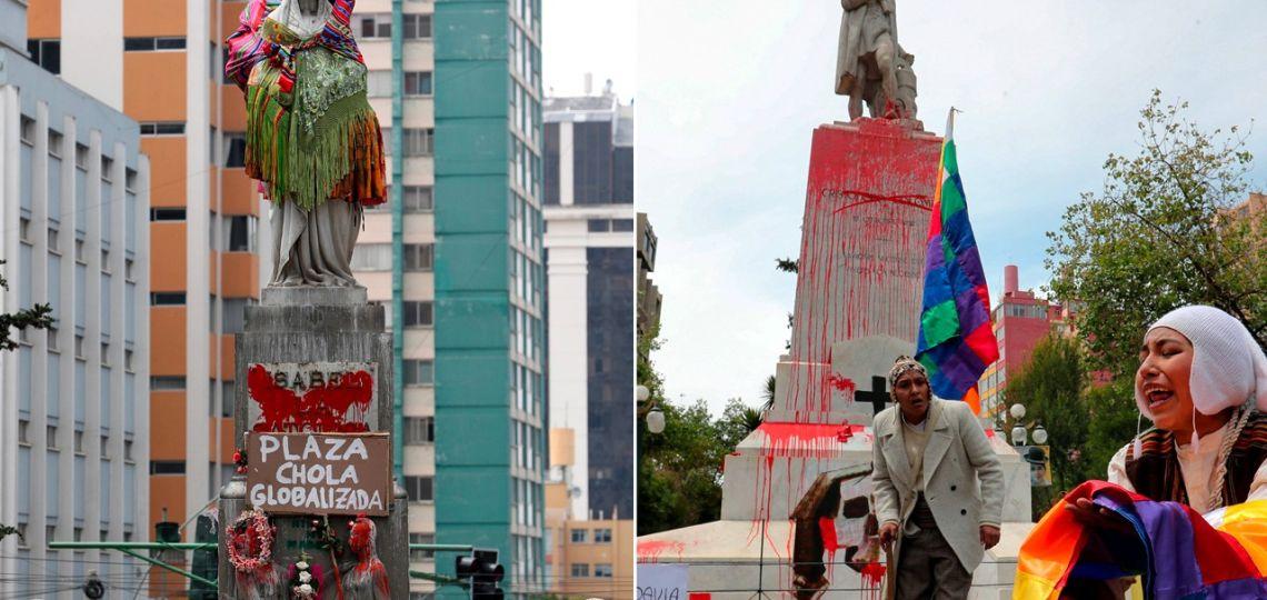 Bolivia: el grupo feminista Mujeres Creando intervino una estatua de Isabel I de Castilla