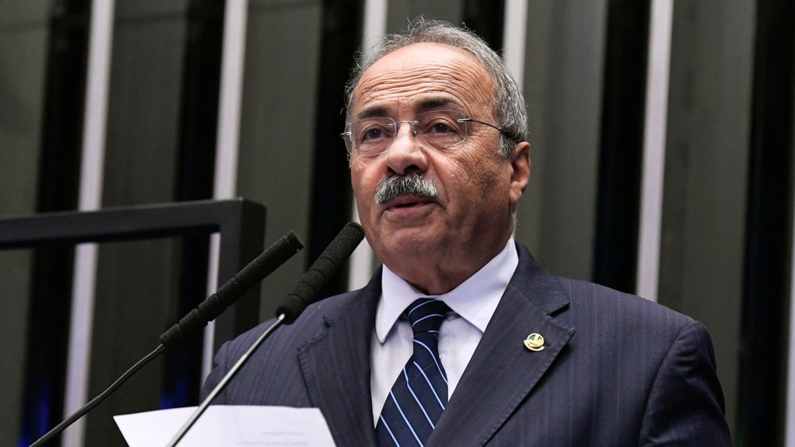 This handout picture released by Brazilian Senate Agency shows Senator Chico Rodrigues speaking at Senate Plenary in Brasilia, on March 9, 2020. A Brazilian Senator tried to hide cash inside his underwear during a police operation investigating the diversion of public resources aimed to combat the new coronavirus in northern Brazil, the local press reported Thursday.