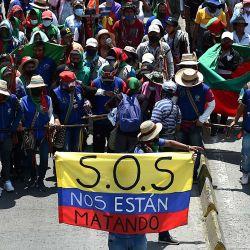 Indígenas colombianos que participan en una marcha de  | Foto:Luis Robayo / AFP