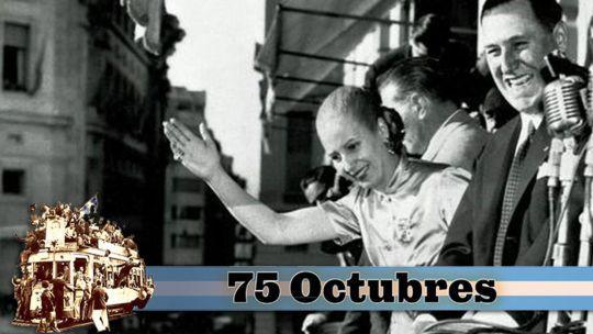 Evita y Perón en el balcón de la Casa Rosada