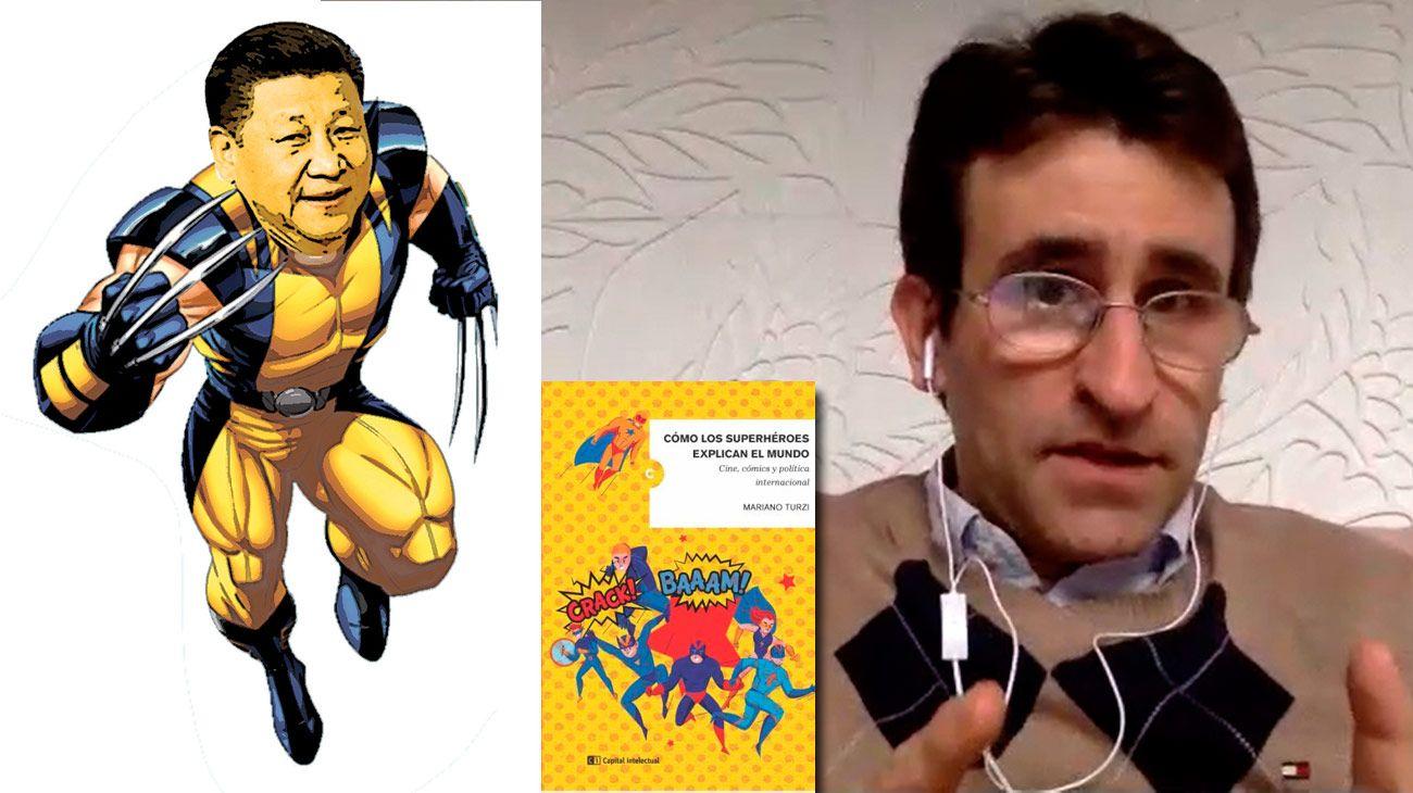 Mariano Turzi y su libro, que une a los superhéroes con la academia y la política internacional.