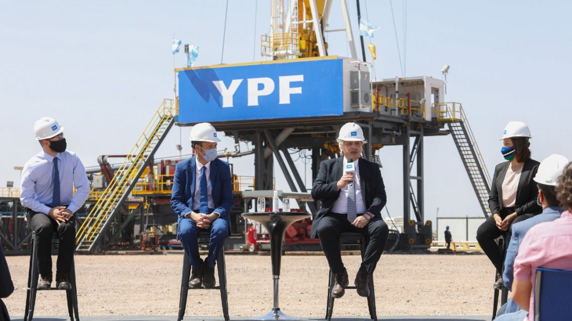 President Alberto Fernández delivers a speech at a YPF Vaca Muerta drilling site.