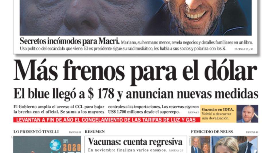 La tapa de este sábado 17 de octubre del Diario Perfil.