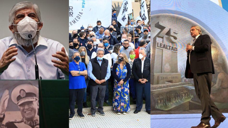 """Moyano movilizó a su gente en el centro porteño y dio un discurso agresivo. El Presidente pidió en la CGT """"terminar con la Argentina del odio""""."""
