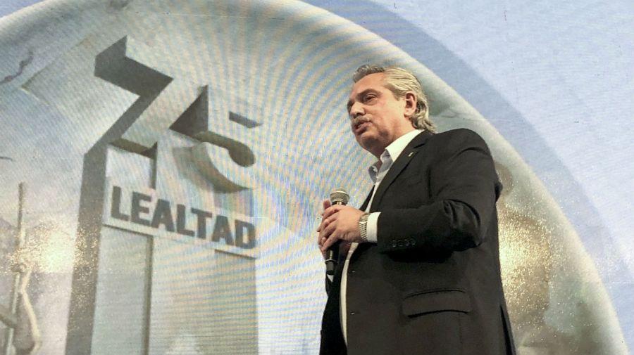Alberto Fernandez en el acto del 17 de octubre