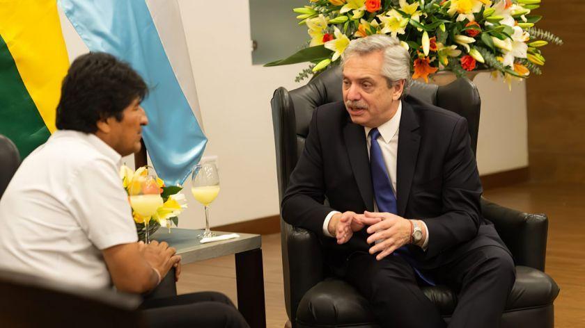 Evo Morales junto a Alberto Fernández.