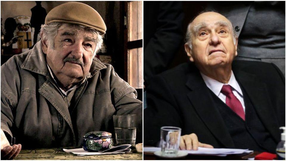 Los expresidentes de Uruguay José Mujica y Julio María Sanguinetti.