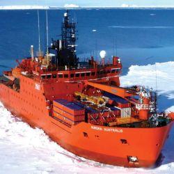 El rompehielos Aurora Australis mide 95 metros de eslora y 20 metros de manga.