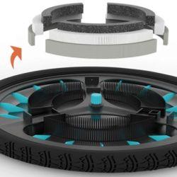 Otra cuestión muy interesante de este sistema es su bajo peso, aproximadamente 1 kilo si se lo coloca en ambas ruedas.