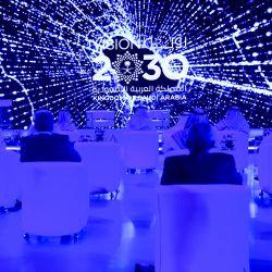 Los invitados asisten a la Cumbre Global AI 2020 (Inteligencia Artificial) en la capital de Arabia Saudita, Riad. - La cumbre, organizada por la Autoridad Saudita de Datos e IA (SDAIA) y la Secretaría del G20 de Arabia Saudita como parte del Programa de Conferencias Internacionales, trae juntos a partes interesadas del sector público, académico y privado, incluidas empresas de tecnología, inversores, emprendedores y nuevas empresas para dar forma al futuro de la Inteligencia Artificial (IA). | Foto:FAYEZ NURELDINE / AFP