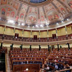 El primer ministro de España, Pedro Sánchez, Pronuncia un discurso durante una sesión parlamentaria en Madrid. | Foto:Manu Fernandez / POOL / AFP