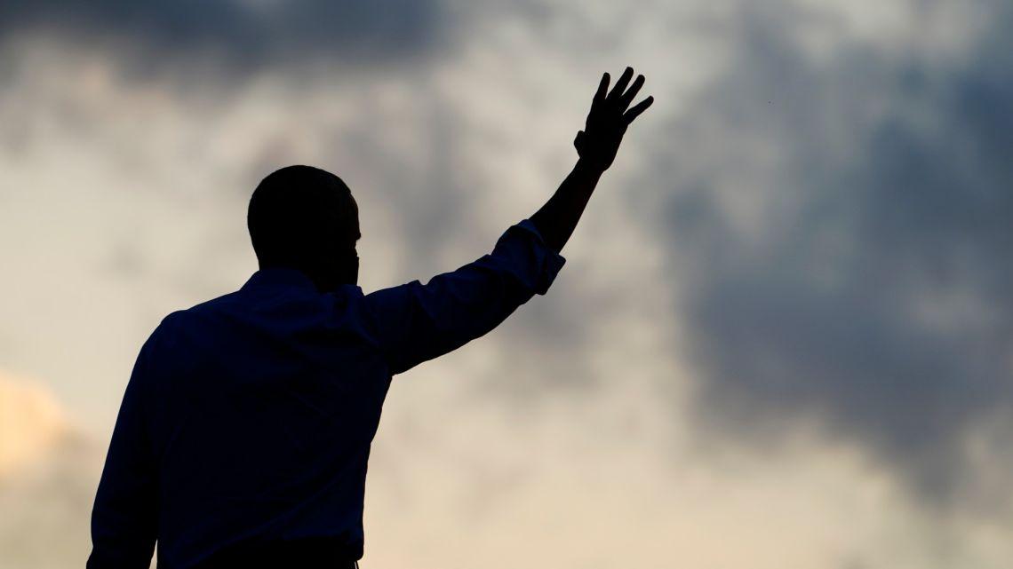 Former US president Barack Obama arrives to speak at Citizens Bank Park as he campaigns for Democratic presidential candidate former Vice President Joe Biden, Wednesday, October 21, 2020, in Philadelphia.