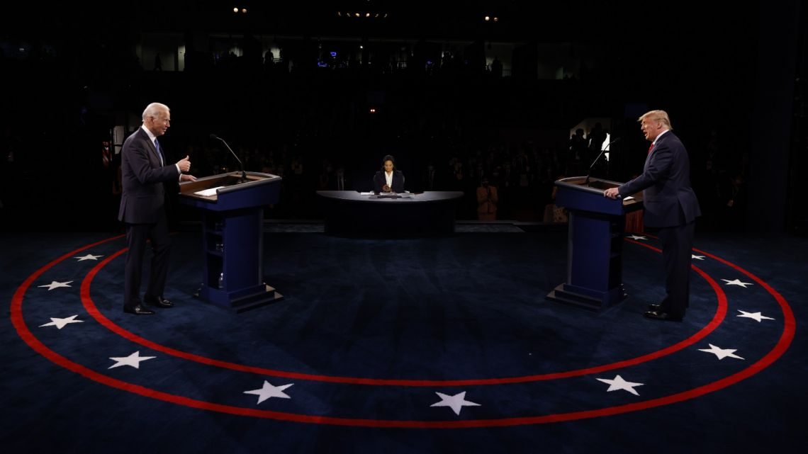 US President Donald Trump and Democratic presidential nominee Joe Biden participate in the final US presidential debate of the 2020 election at Belmont University on October 22, 2020 in Nashville, Tennessee.