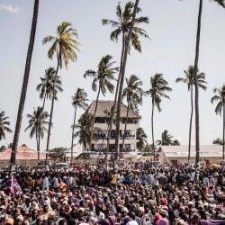 Una multitud del partido de oposición de Zanzíbar, Alianza para el Cambio y la Transparencia (ACT), asiste a un mitin de campaña en Nungwi. | Foto:MARCO LONGARI / AFP
