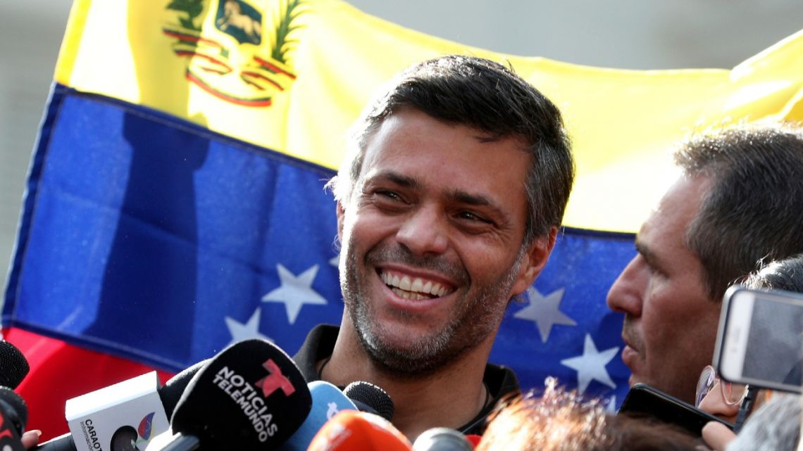 In this May 2, 2019 file photo, Venezuelan opposition leader Leopoldo López smiles during a press conference at the gate of the Spanish ambassador's residence in Caracas, Venezuela.