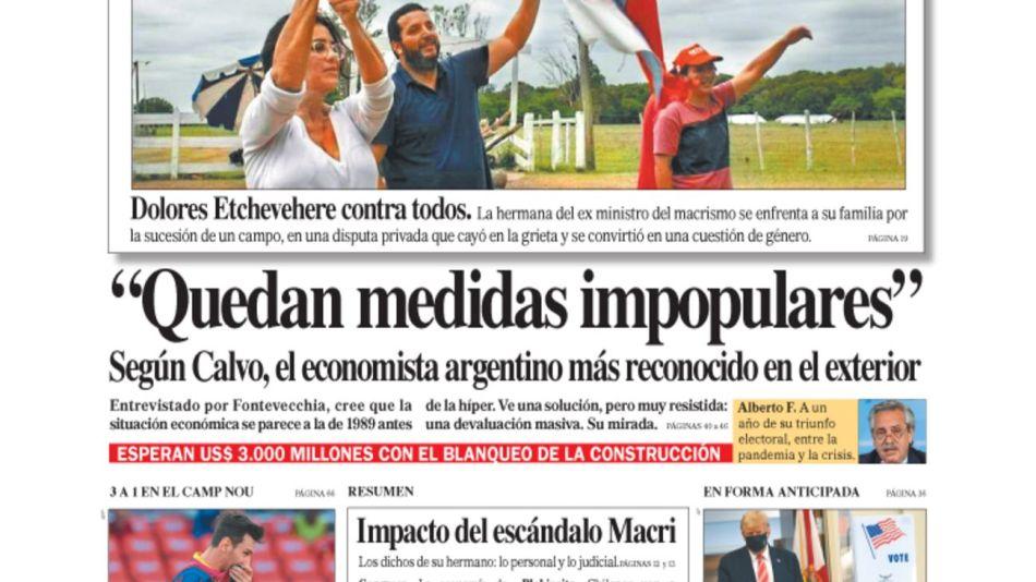 tapa Diario PERFIL domingo 25 de octubre 2020