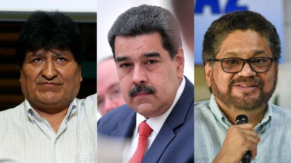 Evo Morales, Nicolas Maduro e Ivan Marquez de las FARC 20201026