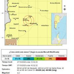 Según el INPRES, el movimiento telúrico se produjo a una profundidad de 7 kilómetros, al este de Sauzal Bonito.