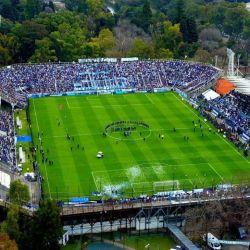 Cómo se ve la cancha de Gimnasia y Esgrima La Plata desde un dron.