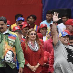 En Caracas, junto al presidente de Venezuela, Nicolás Maduro, en plena campaña electoral.  // Cedoc Perfil