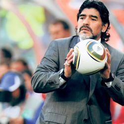 Diego Maradona como DT de la Selección Argentina en Sudáfrica 2010. Quedó eliminado en cuartos de final. // Cedoc Perfil