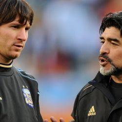 Maradona y Messi, juntos en la Selección. // Cedoc Perfil