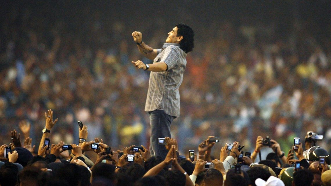 In this file picture taken on December 6, 2008, Diego Armando Maradona attends an event at Salt Lake Stadium in Kolkata, India.